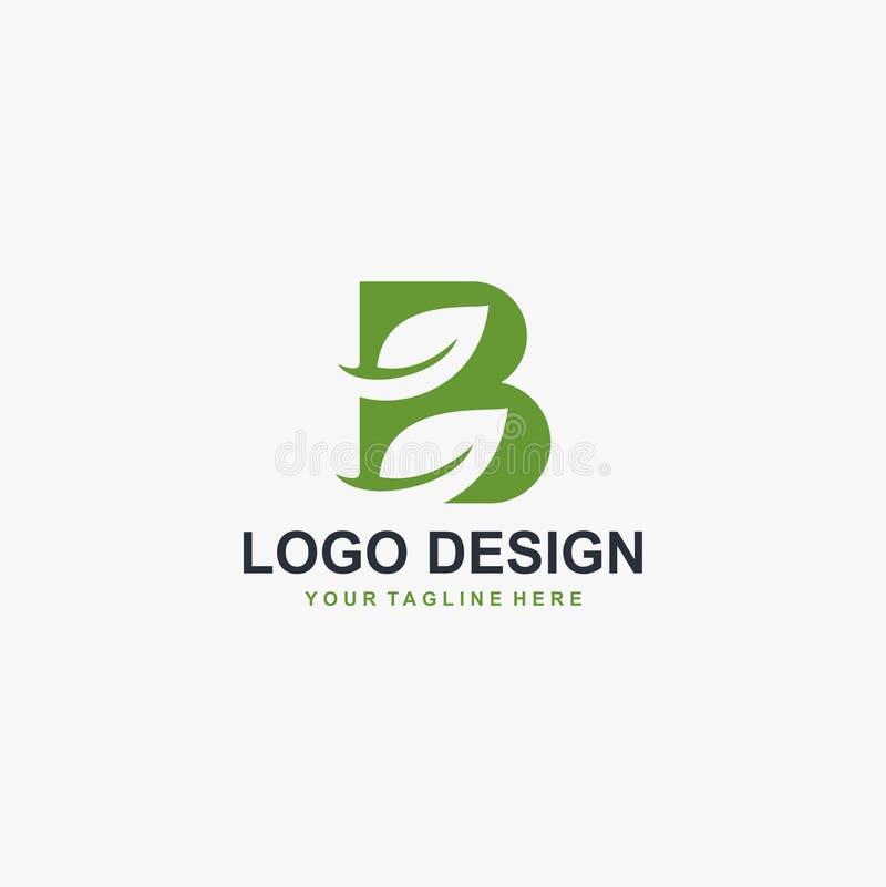 Grön blad- och för monogramlogo för bokstav B för design vektor royaltyfri illustrationer
