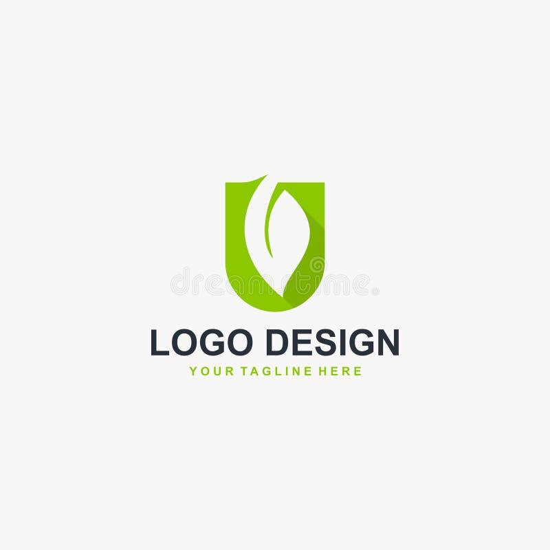 Grön blad- och för monogramlogo för bokstav U för design vektor stock illustrationer
