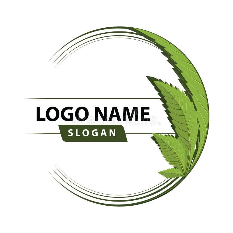 Grön bladlogo för cannabis royaltyfri illustrationer