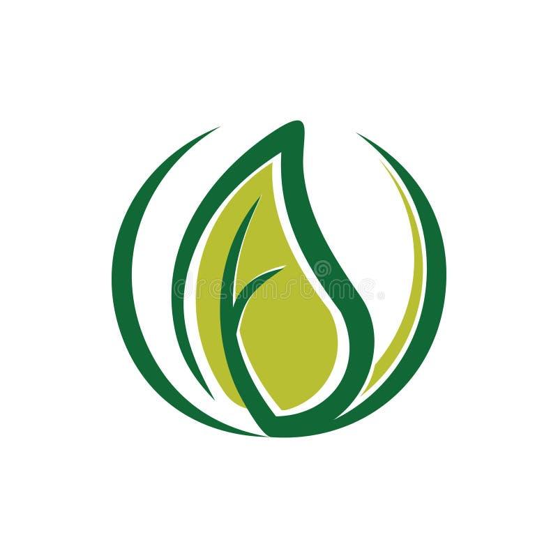 Grön bladmiljö Utdrag ur ekologilogotyp royaltyfri illustrationer