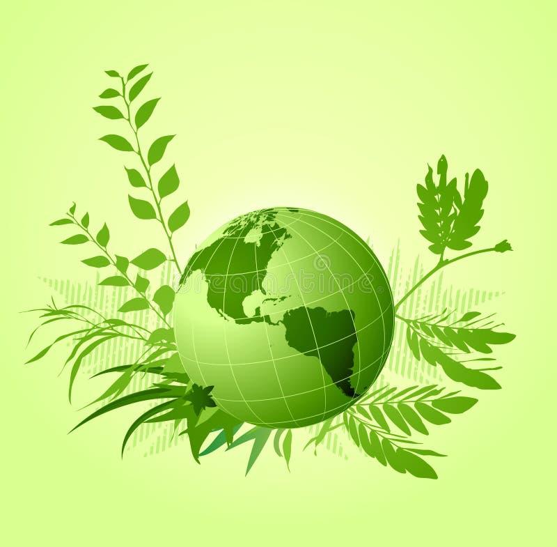 Grön blom- ekologisk bakgrund royaltyfri illustrationer