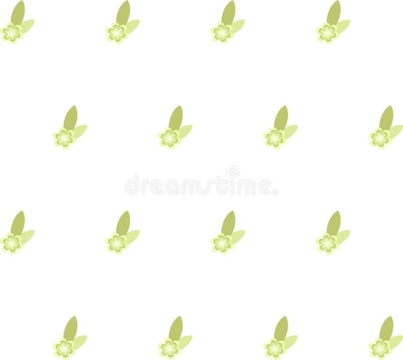 Grön blom- sömlös textur, modell på vit bakgrund, designbeståndsdel, vektor vektor illustrationer