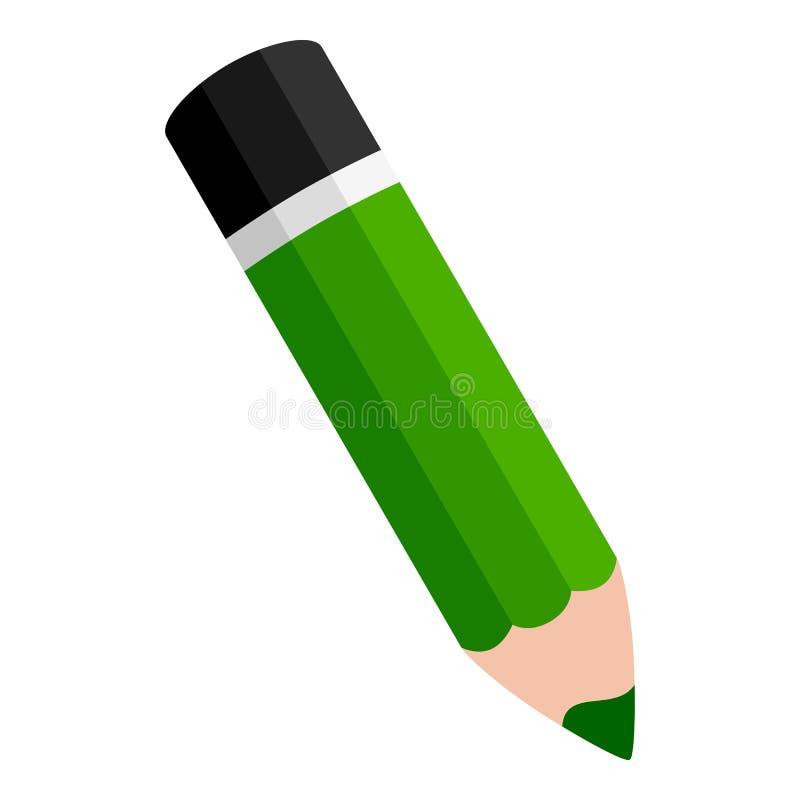 Grön blyertspennalägenhetsymbol som isoleras på vit royaltyfri illustrationer