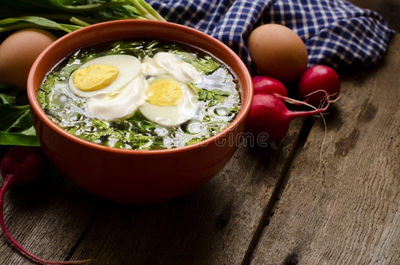Grön borscht med syra, spenat och potatisen som överträffas med det kokta ägget och gräddfil på tappningen trätabell fotografering för bildbyråer