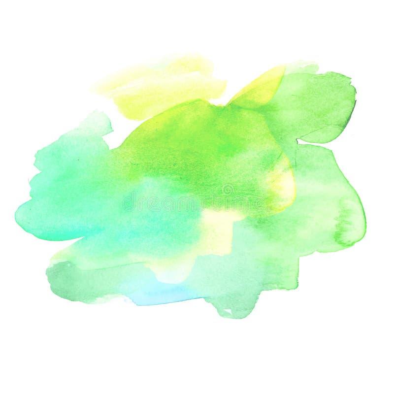 Grön borste målad vattenfärgbakgrund För borstemålarfärg för konst abstrakt illustration för vektor för design för textur royaltyfri illustrationer