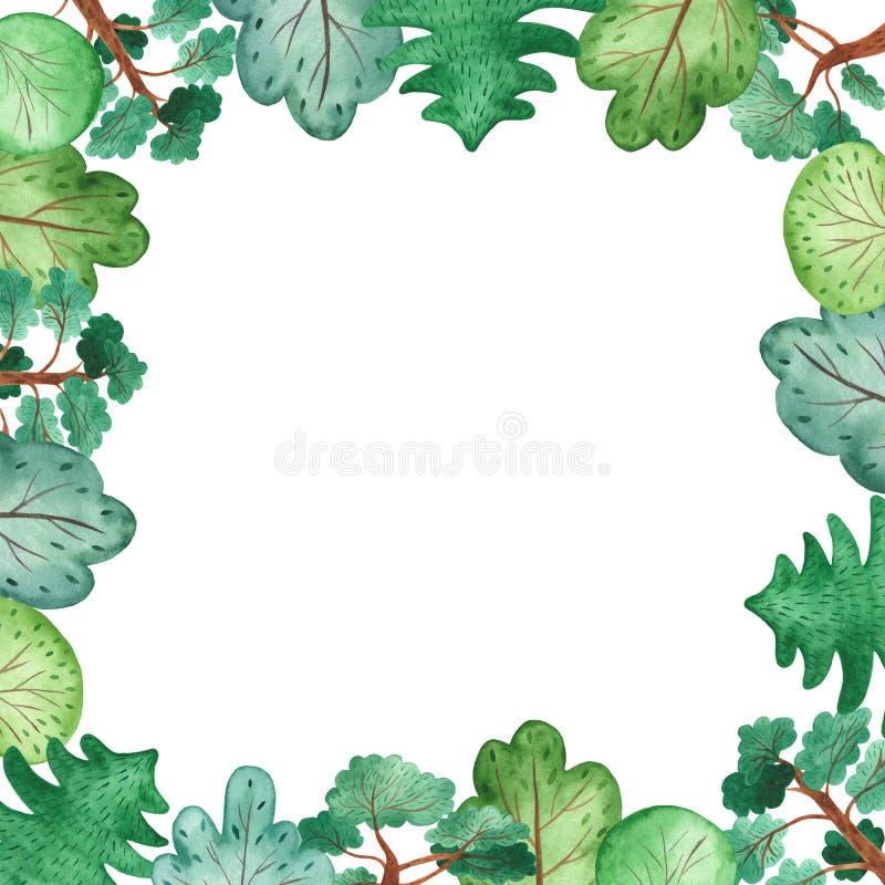 Grön botanisk ram för vattenfärg med träd vektor illustrationer