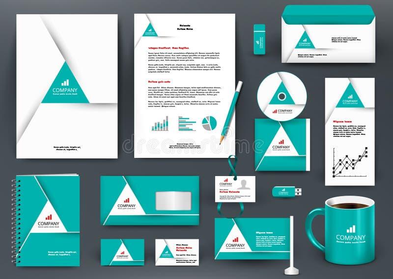 Grön brännmärka designsats för yrkesmässig universal med triangelorigamibeståndsdelen vektor illustrationer