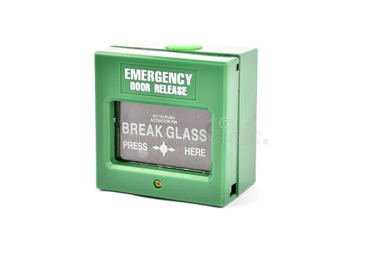 Grön brandlarmpanel på vit bakgrund fotografering för bildbyråer