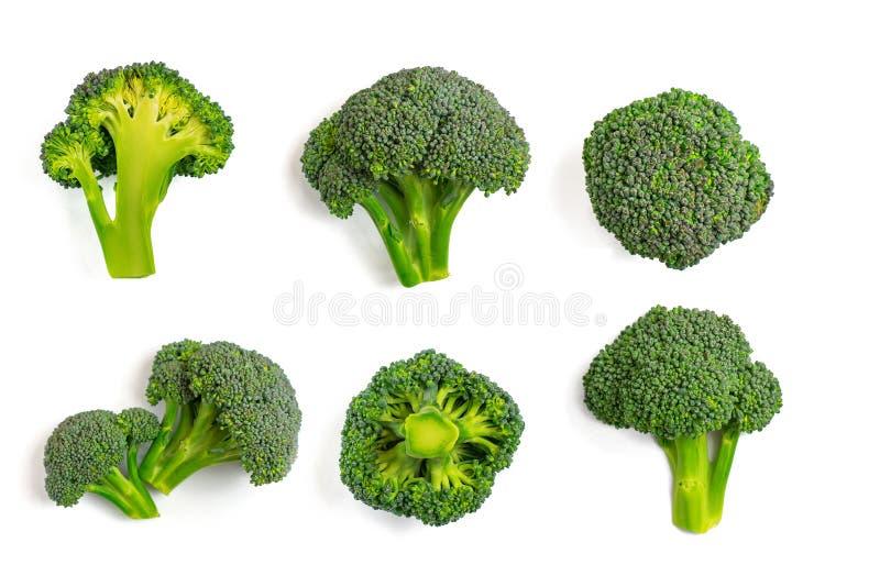 Grön broccolimodellmat Isolerad grönsak på vit bakgrund Top beskådar royaltyfri bild