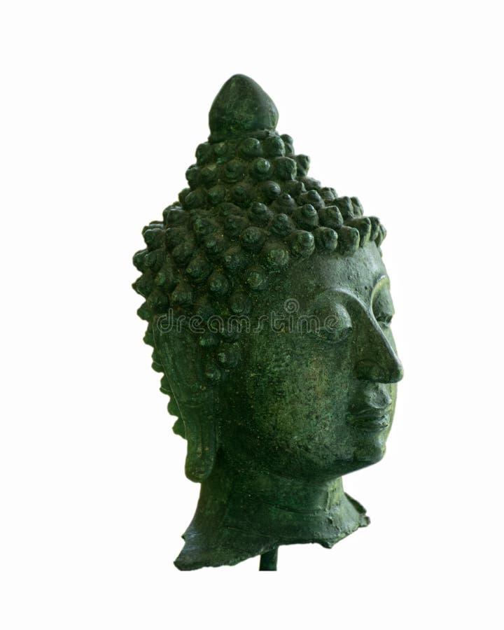 Grön buddha huvudisolat royaltyfria bilder