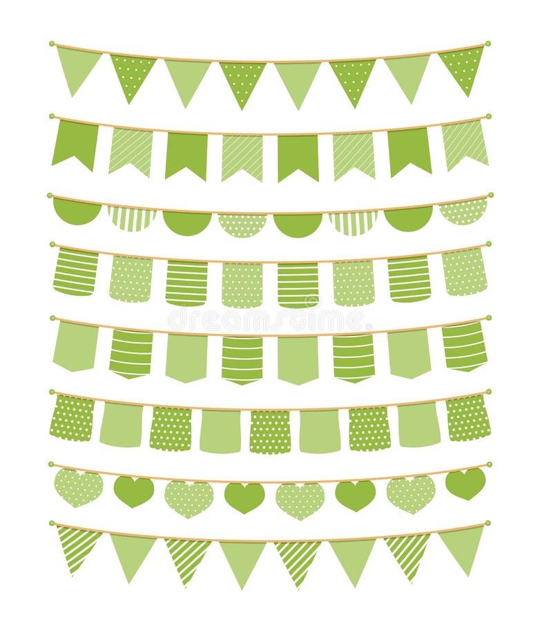 Grön Bunting royaltyfri illustrationer