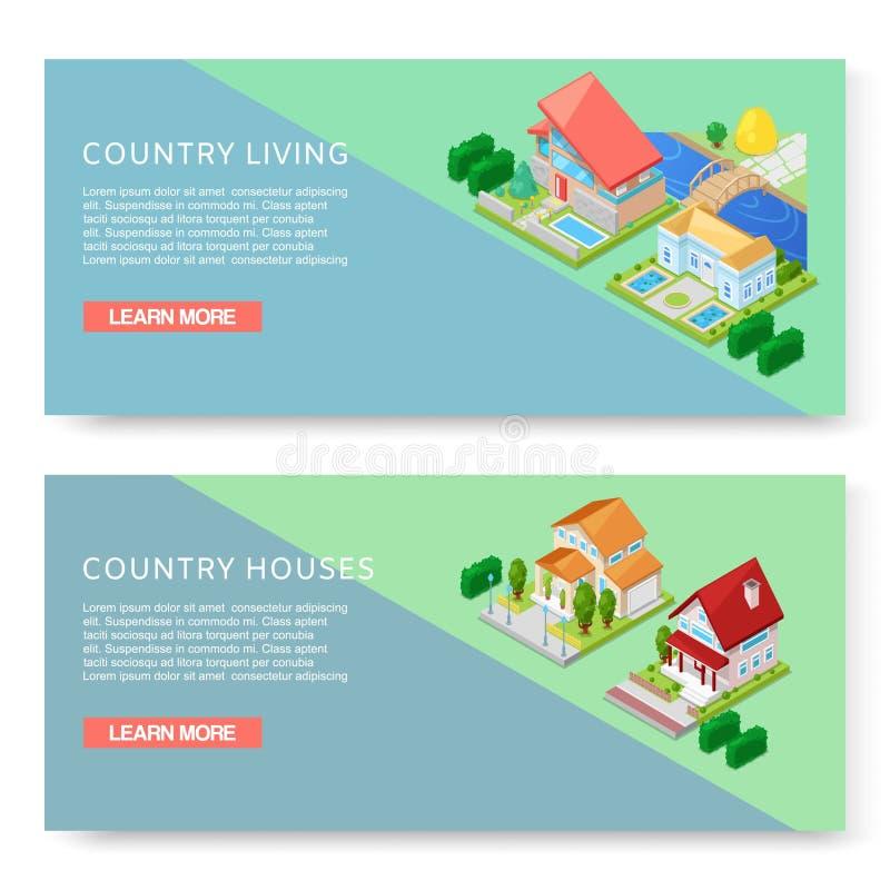 Grön bygd - ställ in av vektorillustrationer med stället för din text Två baner på att bo i landstema med royaltyfri illustrationer