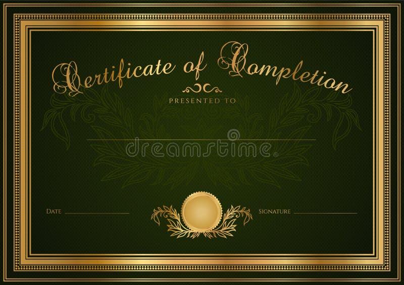 Grön certifikat-/diplombakgrund (mallen) stock illustrationer