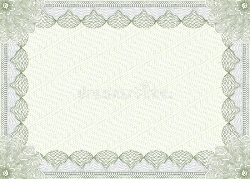 Grön certifikat- eller diplommall stock illustrationer