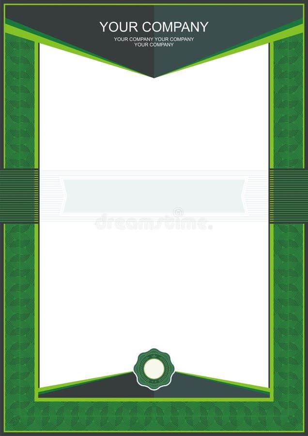 Grön certifikat- eller diplommallram - gräns royaltyfri illustrationer