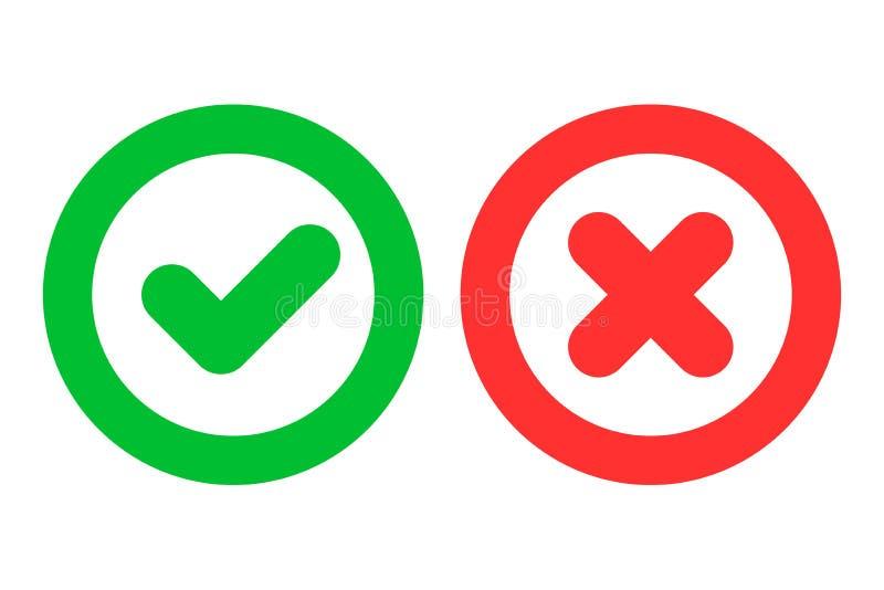 Grön checkmark som är ok, och symboler för Röda korset x som positiva och negativa symboler som isoleras på vit bakgrund stock illustrationer