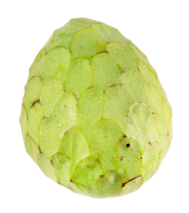 Grön cherimoyafrukt som isoleras på vit bakgrund royaltyfri foto