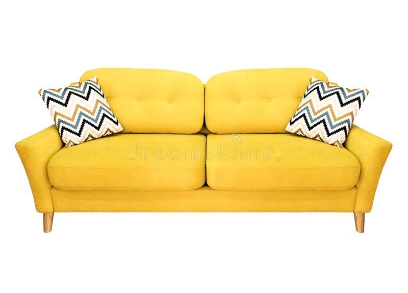 Grön citron - gul soffa med kudden Mjuk citronsoffa Modern soffa på isolerad bakgrund arkivfoto