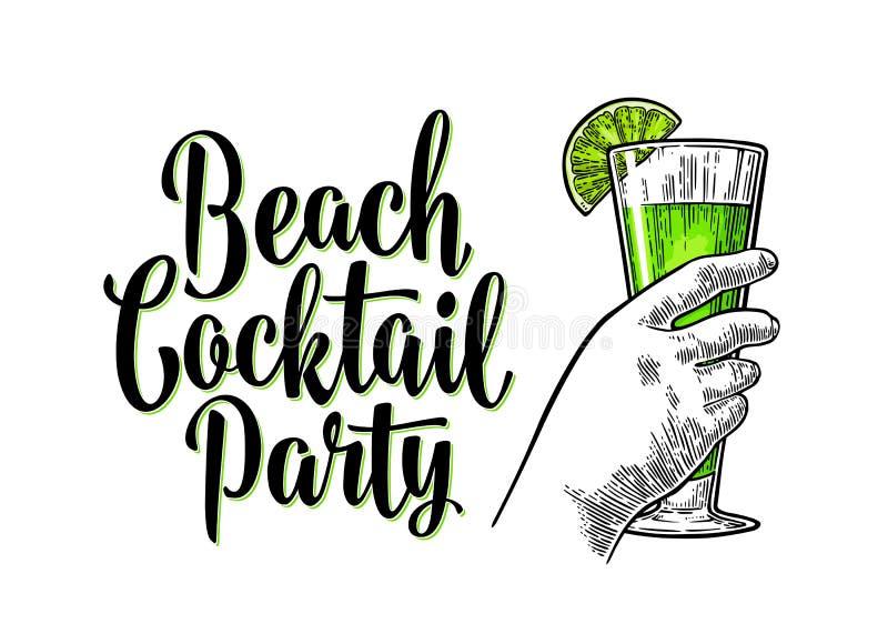 Grön coctail för alkohol med sliselimefrukt Tappninggravyr med bokstäver stock illustrationer