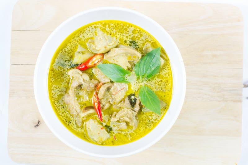 Grön curryhöna, thailändsk traditionell och populär mat, grön cu arkivbilder