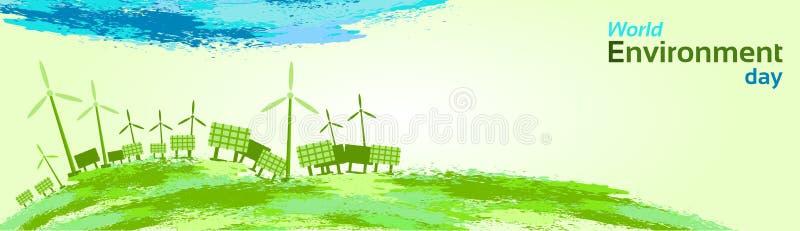 Grön dag för miljö för värld för panel för sol- energi för vindturbin stock illustrationer
