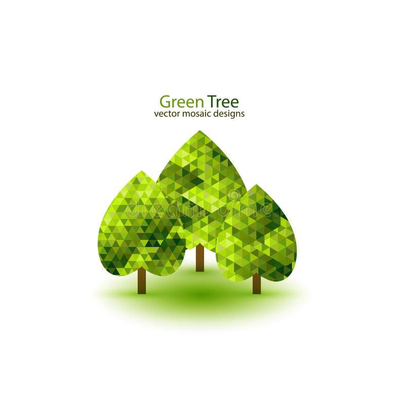 Grön design för mosaikträdekologi stock illustrationer