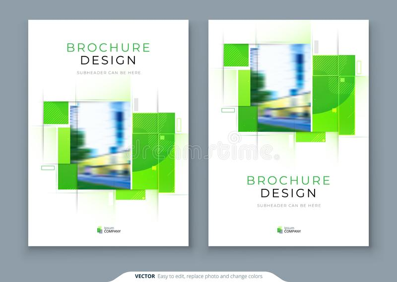 Grön design för orientering för broschyrräkningsmall ?rsrapport f?r f?retags aff?r, katalog, tidskrift, reklambladmodell id?rikt vektor illustrationer