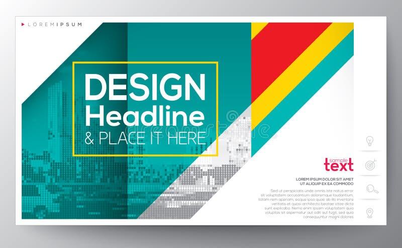 Grön diagonal revärlinje mall för orientering för modern design, 16:9 royaltyfri illustrationer