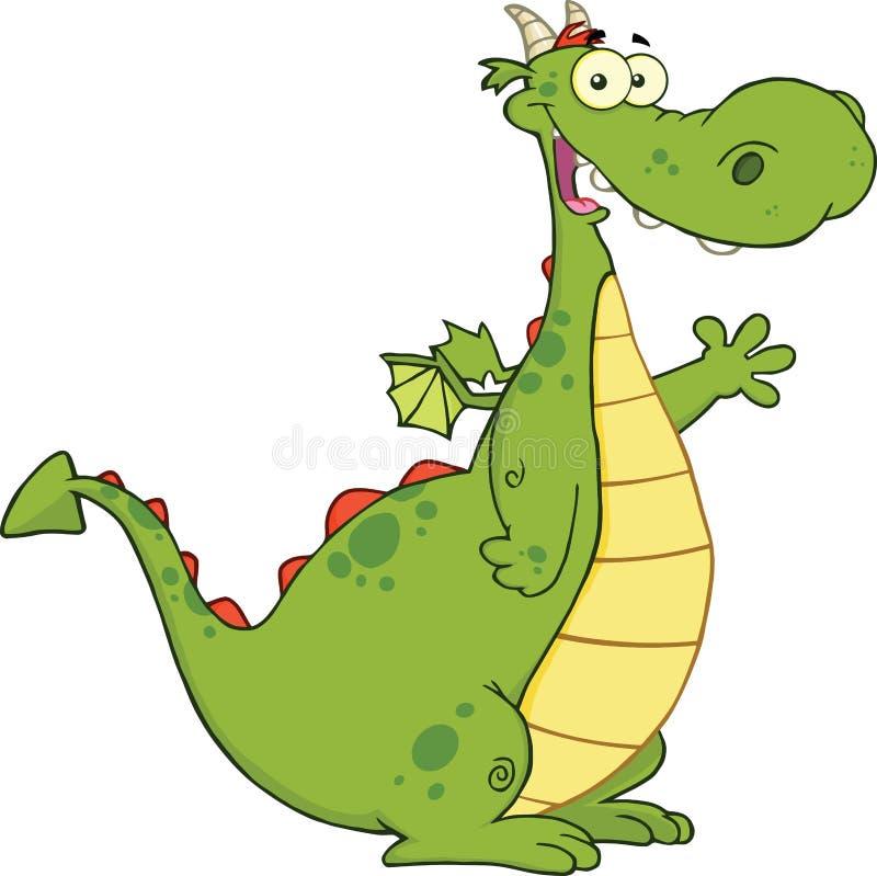 Grön Dragon Cartoon Character Waving For hälsning stock illustrationer