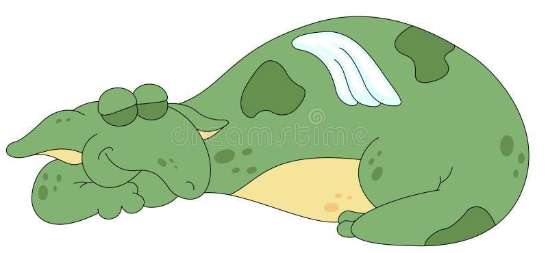 Grön drake som sover fridfullt också vektor för coreldrawillustration royaltyfri illustrationer