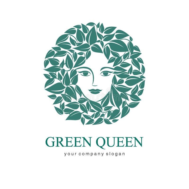 Grön drottninglogo Logo för skönhetsmedel, skönhet, Spa vektor illustrationer