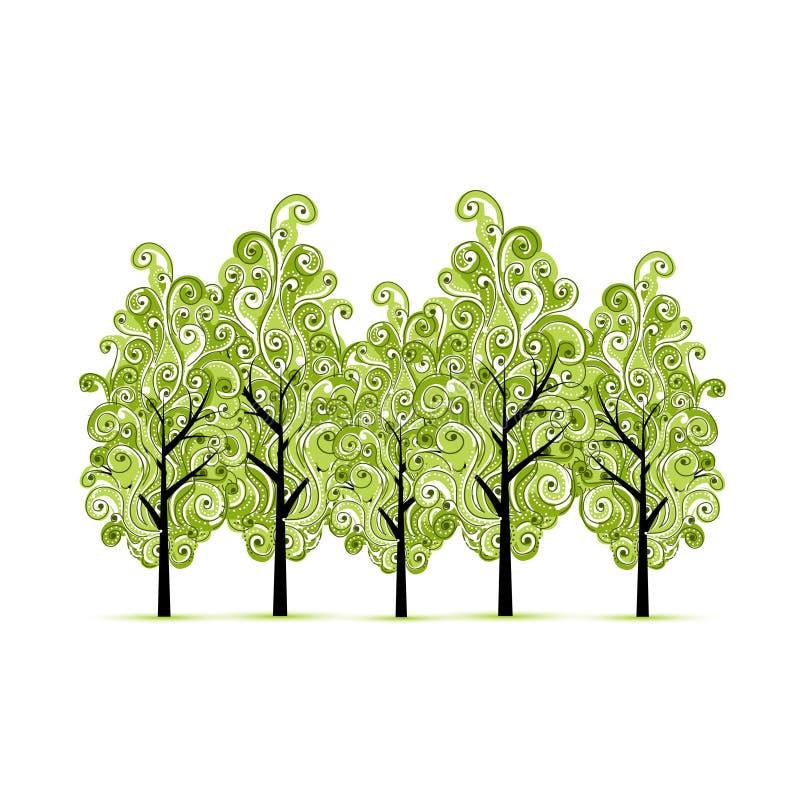 Grön dunge med träd för din design stock illustrationer