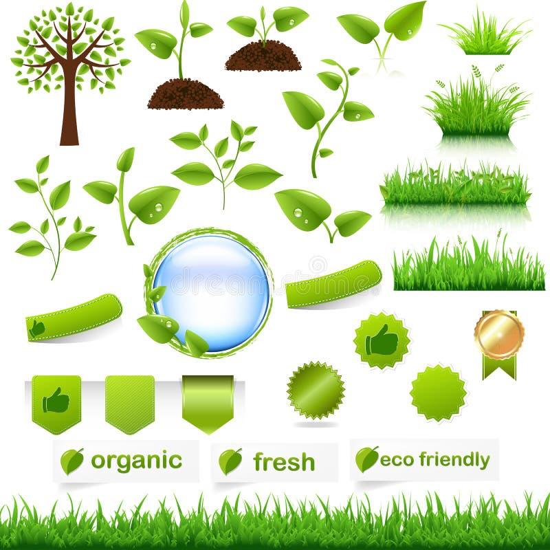 Grön Eco Set royaltyfri illustrationer