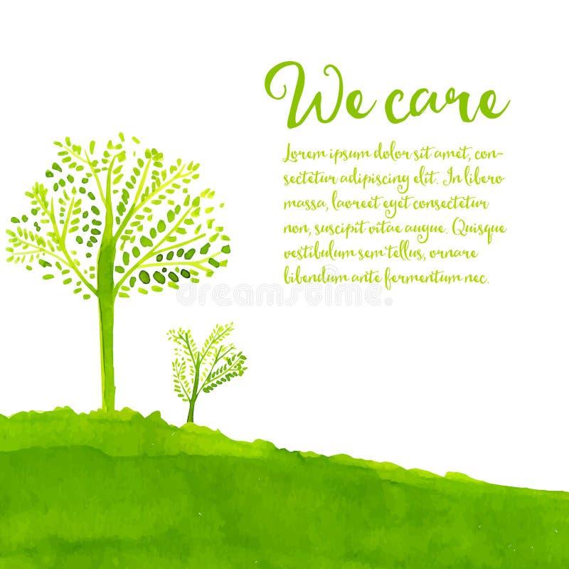 Grön ecobakgrund med hand målade träd royaltyfri illustrationer