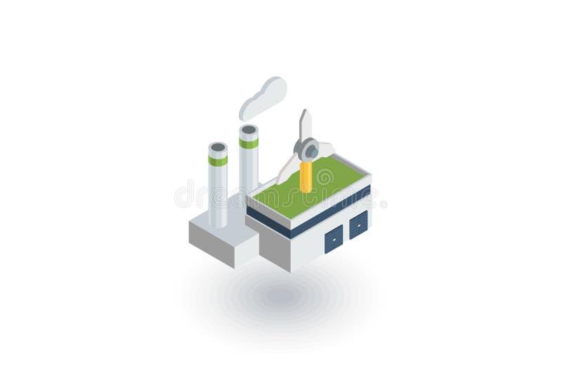 Grön ecofabriksbyggnad, symbol för turbiner för tillverkningwhithvind isometrisk plan vektor 3d vektor illustrationer