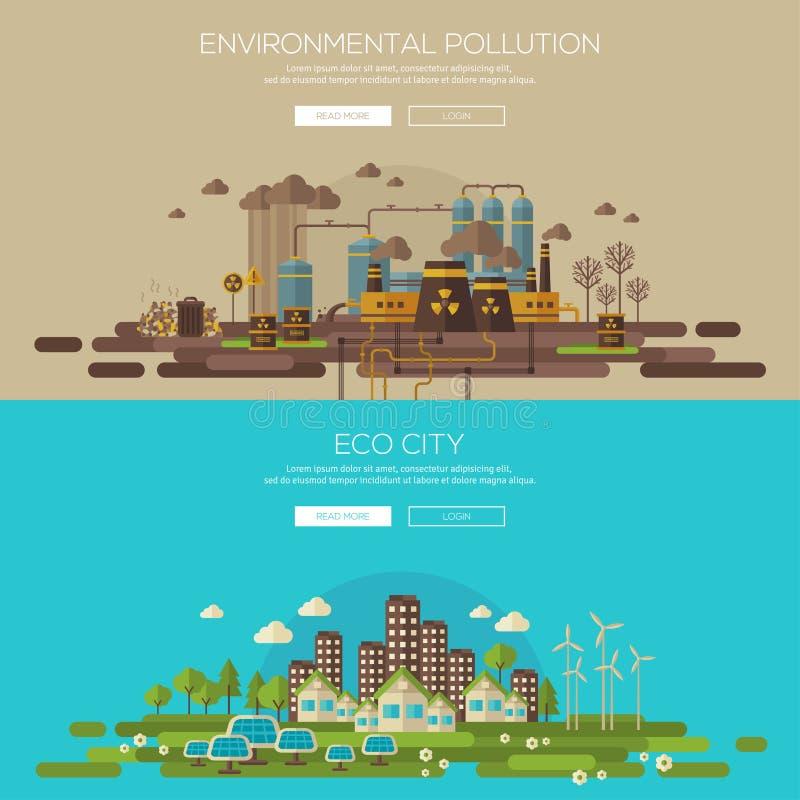 Grön ecostad och miljö- royaltyfri illustrationer