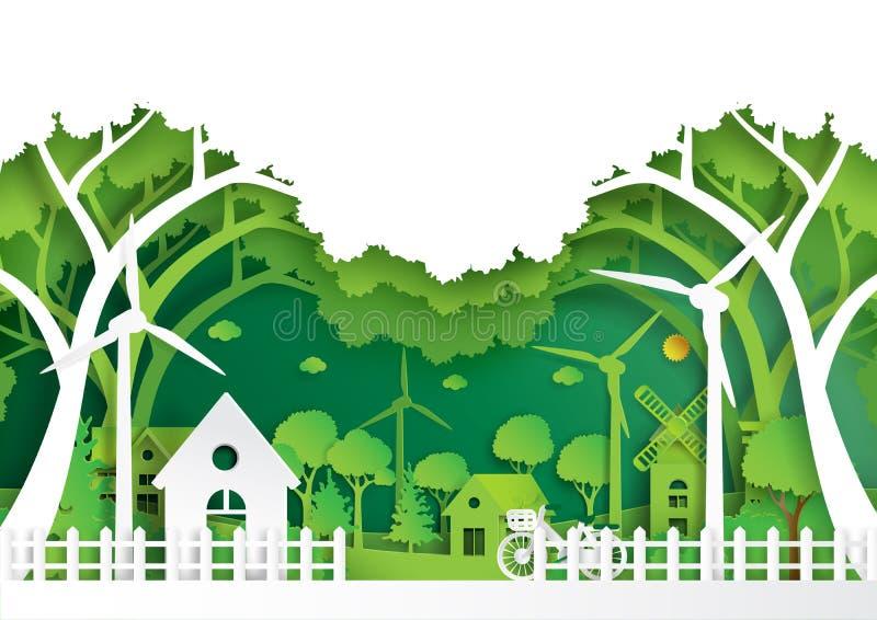 Grön ecovänskapsmatch av stil för konst för miljöbegreppspapper royaltyfri illustrationer