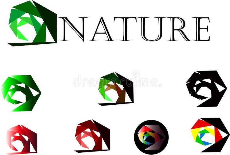 Grön ekologilogotyp, vektor för design för symbol för logo för abstrakt begrepp för växt för natur för cirkelsidagräs arkivbild