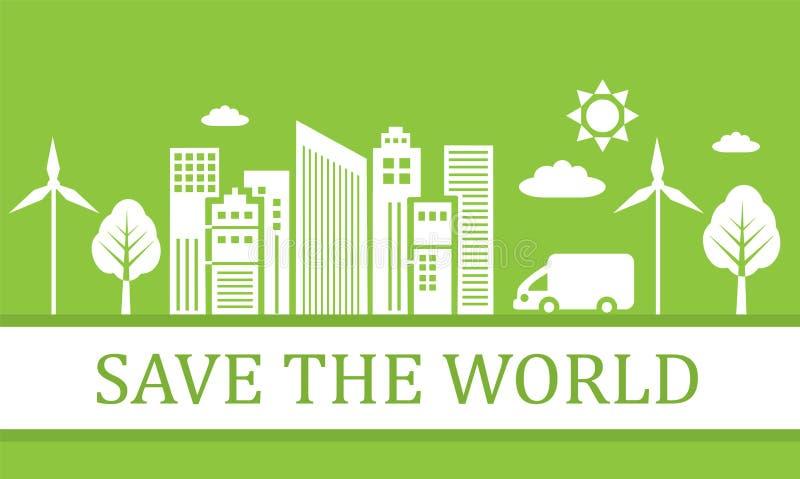 Grön ekologisk stad royaltyfri illustrationer