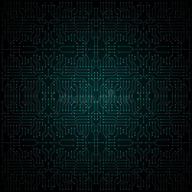 Grön elektrisk strömkrets, illustration royaltyfri illustrationer