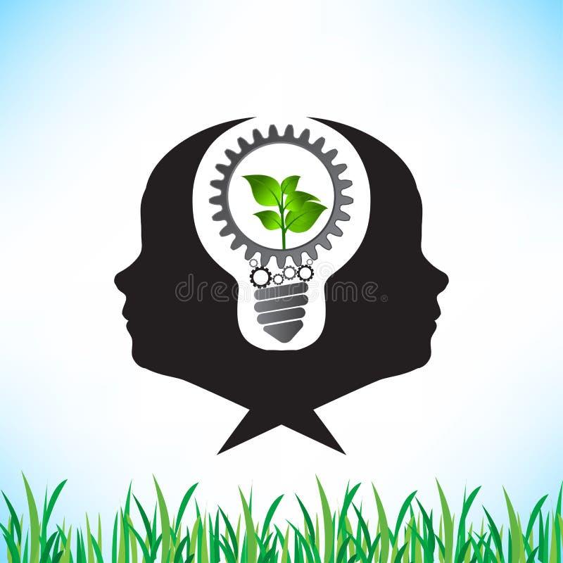 Grön energi - besparing och kuggar som tillsammans arbetar idé stock illustrationer