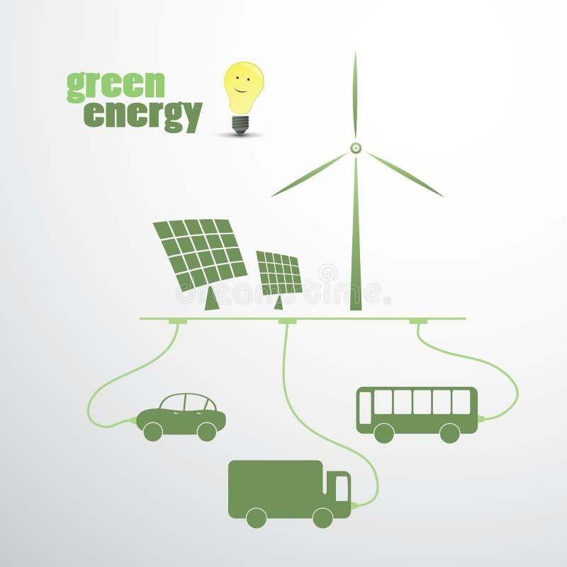 Grön energi - Eco vektorillustration royaltyfri illustrationer
