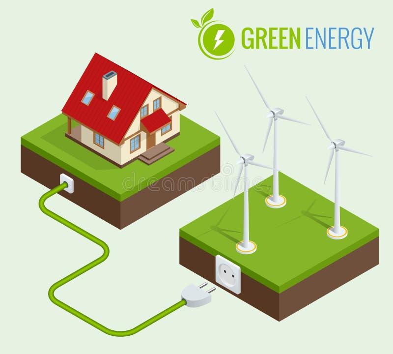 Grön energi för alternativ eller begrepp för grönt hus Isometrisk infographic vektorillustration för plan rengöringsduk 3d Samman stock illustrationer