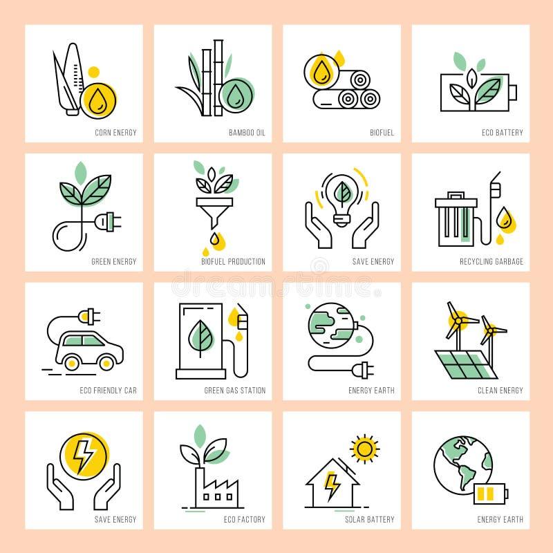 Grön energi och dess beskydd som skyddar miljön vektor illustrationer
