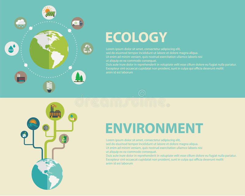 Grön energi och förorening vektor illustrationer