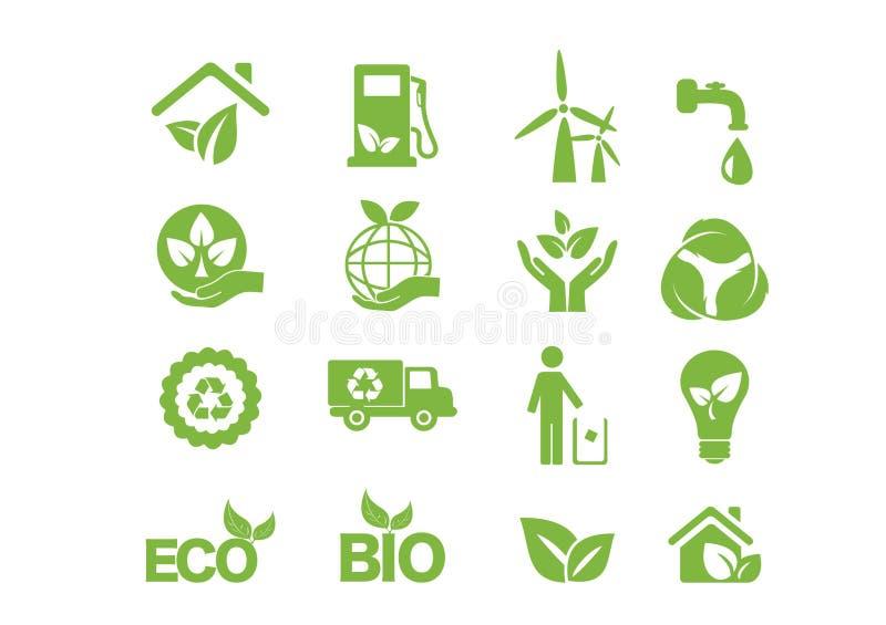 Grön energi, symbolsuppsättning vektor illustrationer