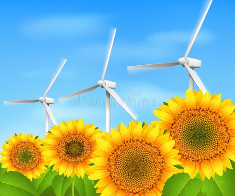 Grön energibakgrund stock illustrationer