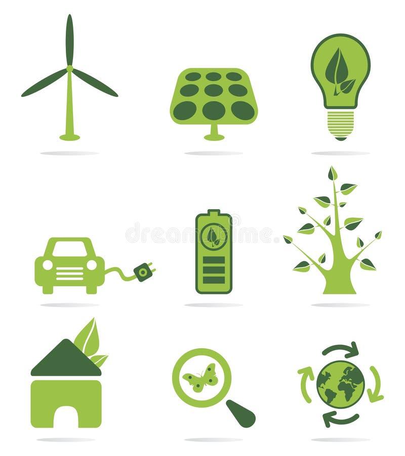 Grön energisymbolsuppsättning vektor illustrationer