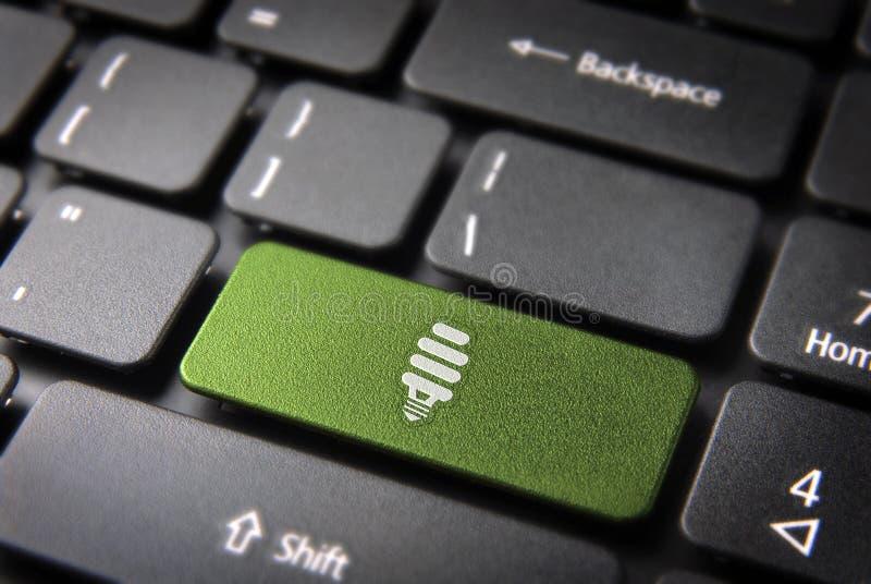 Grön energitangentbordtangent, ecobegrepp arkivbild