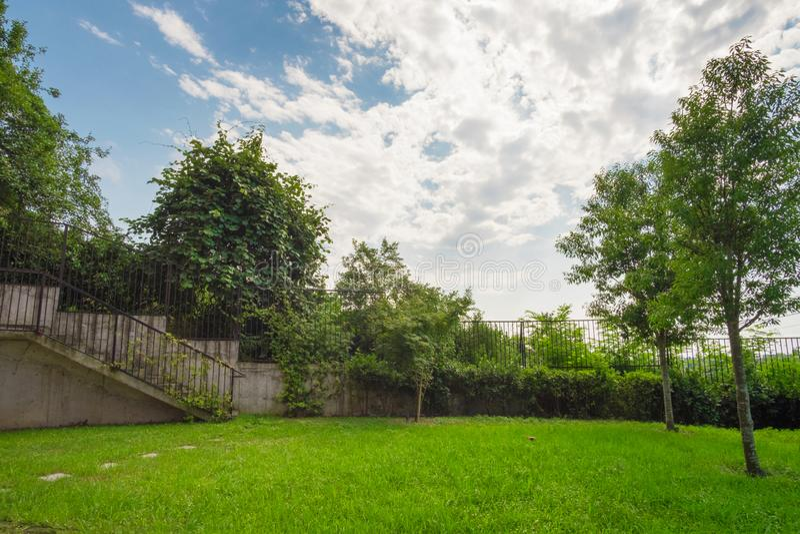Grön fäktad trädgård med träd royaltyfria foton